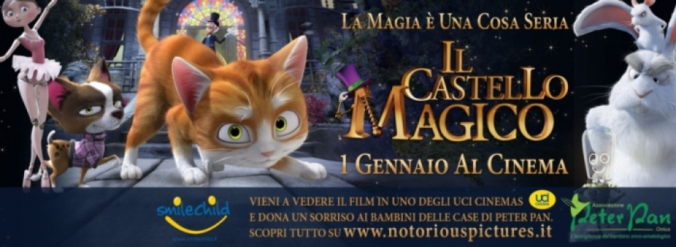 """Dal 1° di gennaio vai a vedere """"Il castello magico"""" in un cinema UCI Cinemas e così donerai un sorriso ai bambini della casa di Peter Pan!"""